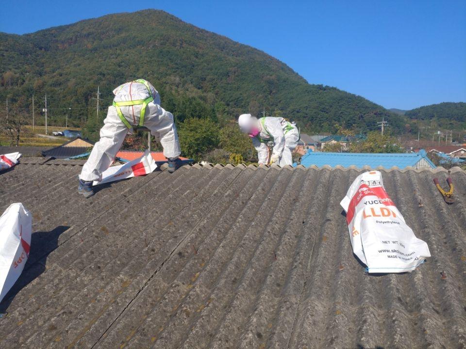 9 번째 사진  에  연면적44 ㎡ 경상남도 밀양시 청도면 축사 슬레이트지붕 석면처리