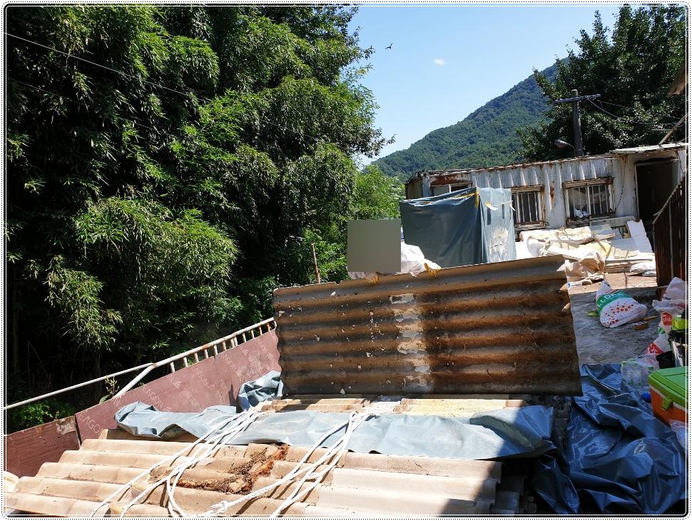 12 번째 사진  에  연면적 ㎡ 경북 고령군 석면슬레이트 철거 작업