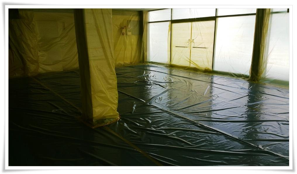 9 번째 사진  에  연면적 ㎡ 울진 현대자동차 대리점 천장 석면 텍스 철거 현장