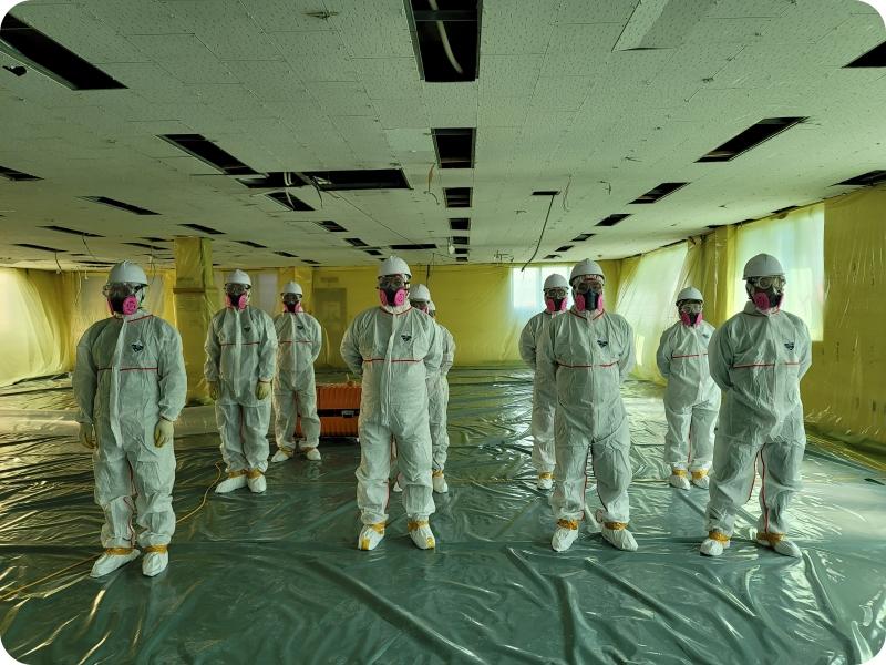 13 번째 사진  에  연면적959.38 ㎡ 부산도시가스 천장 텍스 해체 공사